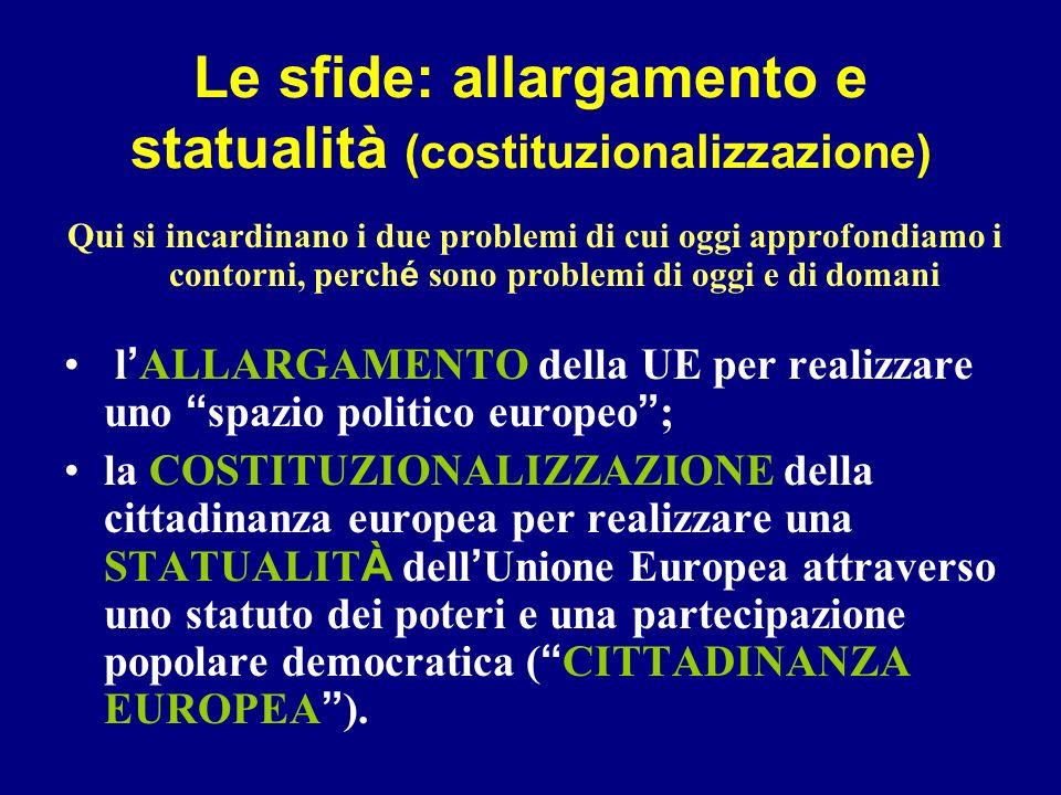 Le sfide: allargamento e statualità (costituzionalizzazione)
