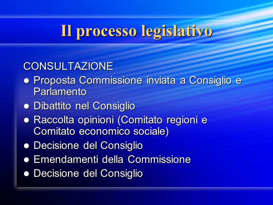Il processo legislativo