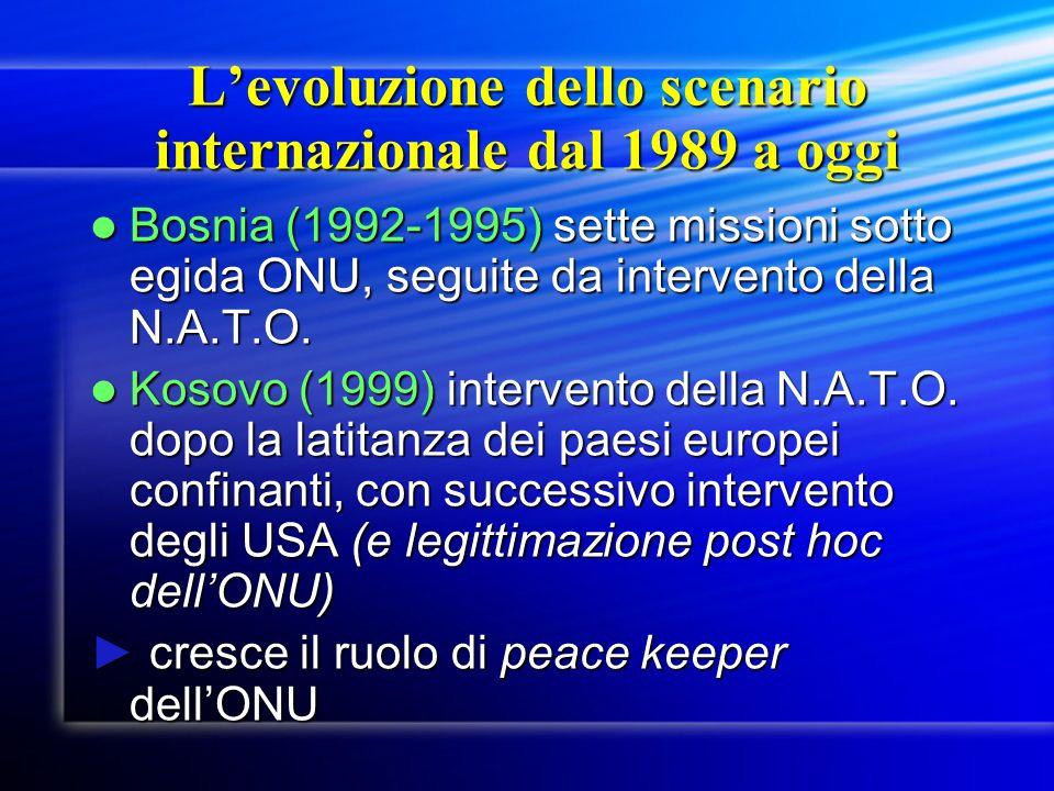 L'evoluzione dello scenario internazionale dal 1989 a oggi