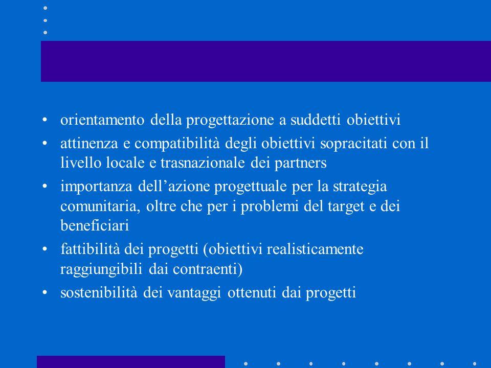 orientamento della progettazione a suddetti obiettivi