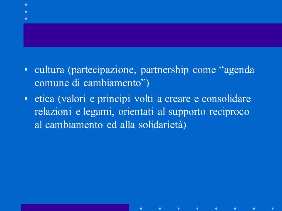 cultura (partecipazione, partnership come agenda comune di cambiamento )