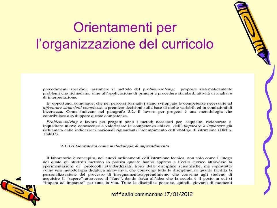 Orientamenti per l'organizzazione del curricolo