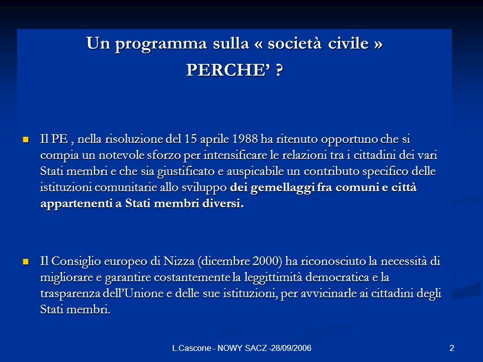 Un programma sulla « società civile »