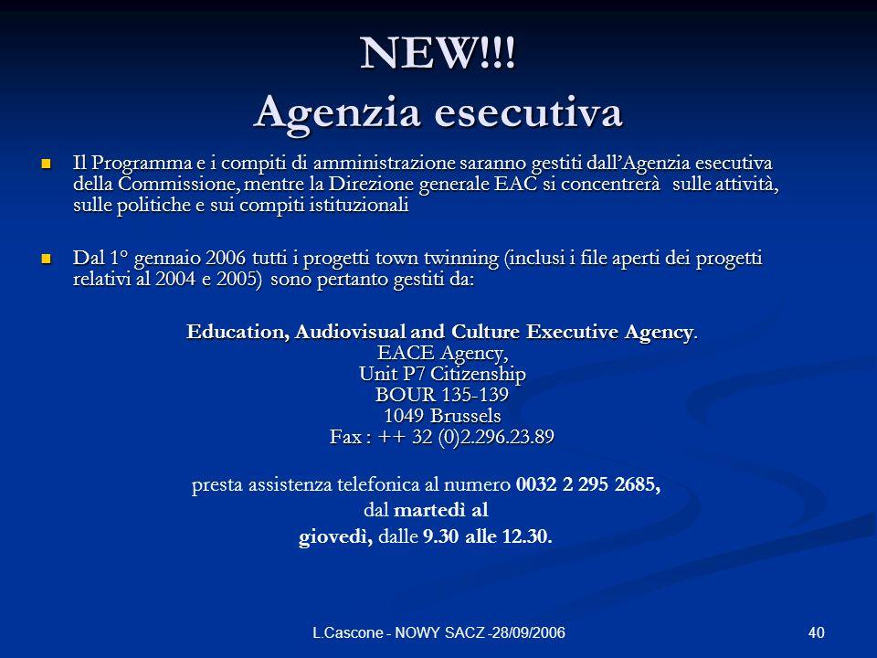 NEW!!! Agenzia esecutiva
