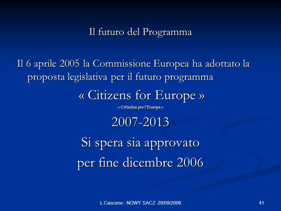2007-2013 Si spera sia approvato per fine dicembre 2006