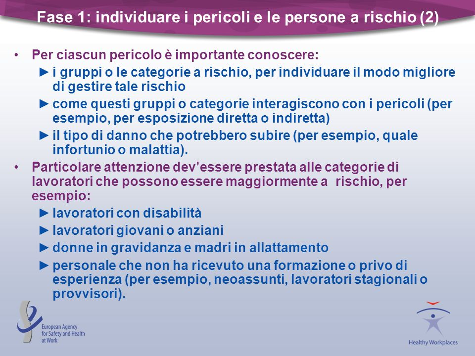 Fase 1: individuare i pericoli e le persone a rischio (2)