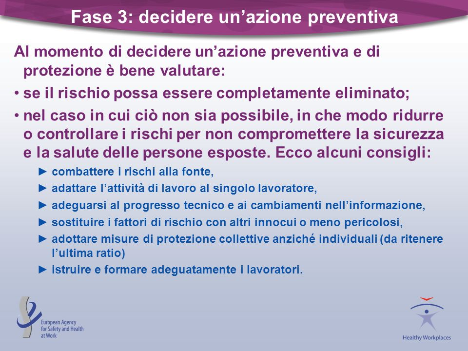 Fase 3: decidere un'azione preventiva