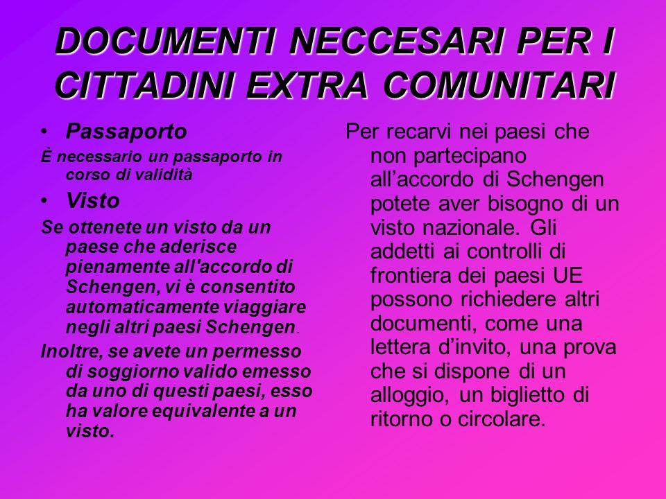 DOCUMENTI NECCESARI PER I CITTADINI EXTRA COMUNITARI