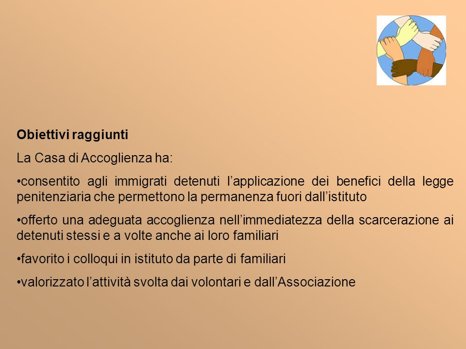 Obiettivi raggiunti La Casa di Accoglienza ha: