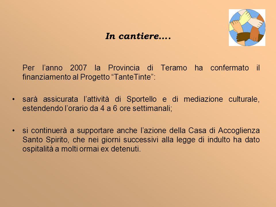 In cantiere…. Per l'anno 2007 la Provincia di Teramo ha confermato il finanziamento al Progetto TanteTinte :