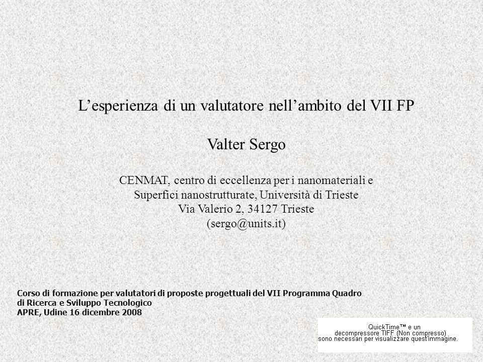 L'esperienza di un valutatore nell'ambito del VII FP Valter Sergo