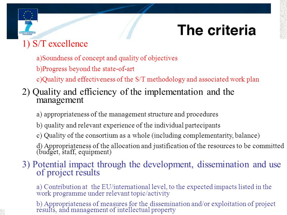 a)Soundness of concept and quality of objectives