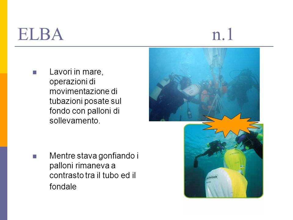 ELBA n.1 Lavori in mare, operazioni di movimentazione di tubazioni posate sul fondo con palloni di sollevamento.