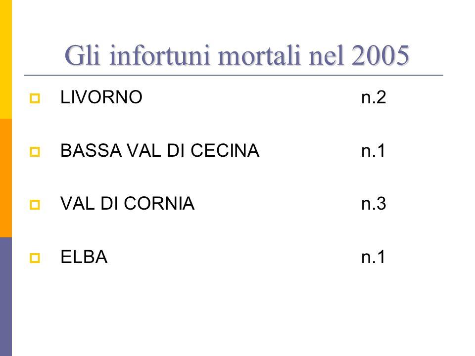 Gli infortuni mortali nel 2005