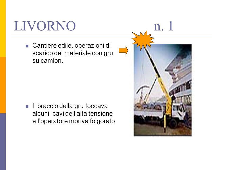 LIVORNO n. 1Cantiere edile, operazioni di scarico del materiale con gru su camion.