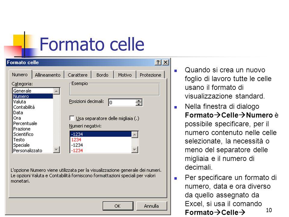 Formato celle Quando si crea un nuovo foglio di lavoro tutte le celle usano il formato di visualizzazione standard.