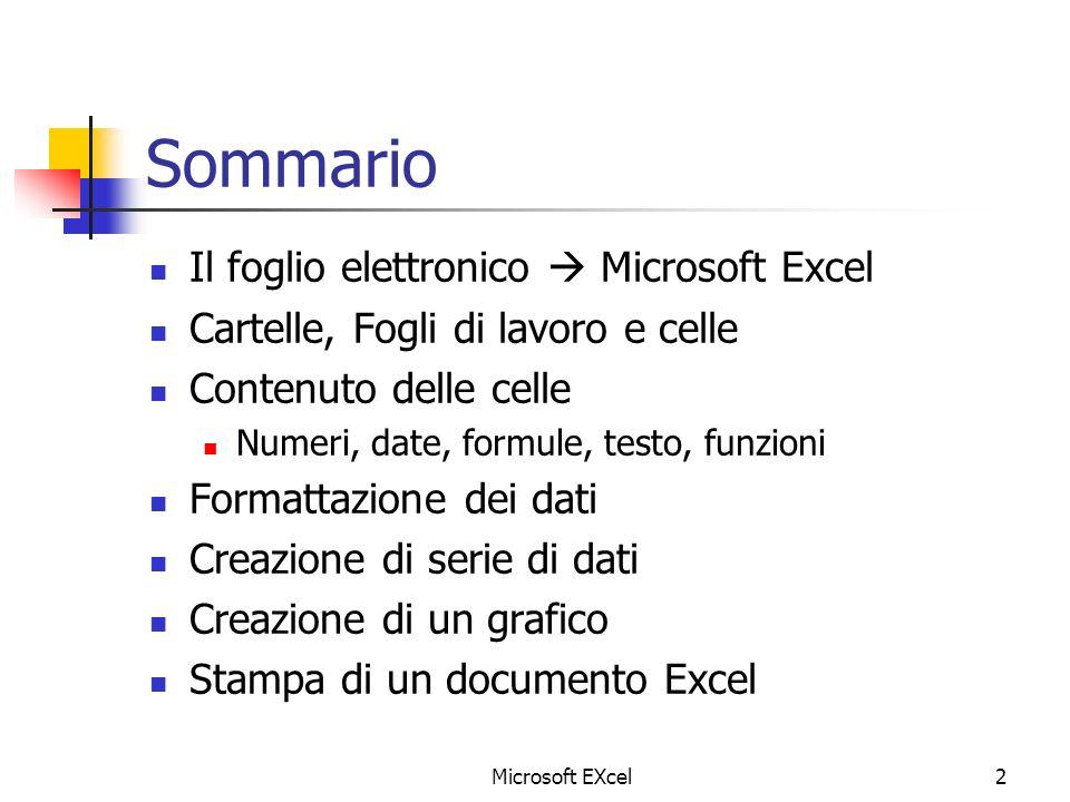 Sommario Il foglio elettronico  Microsoft Excel