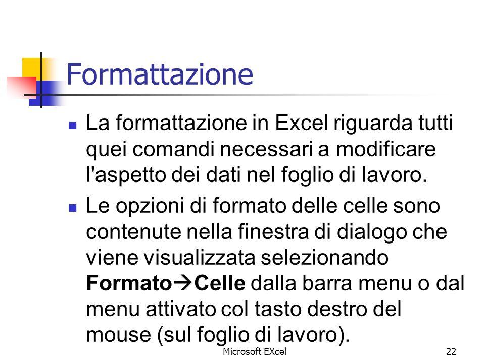 Formattazione La formattazione in Excel riguarda tutti quei comandi necessari a modificare l aspetto dei dati nel foglio di lavoro.