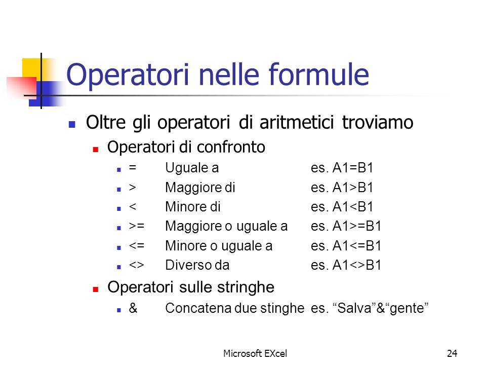 Operatori nelle formule