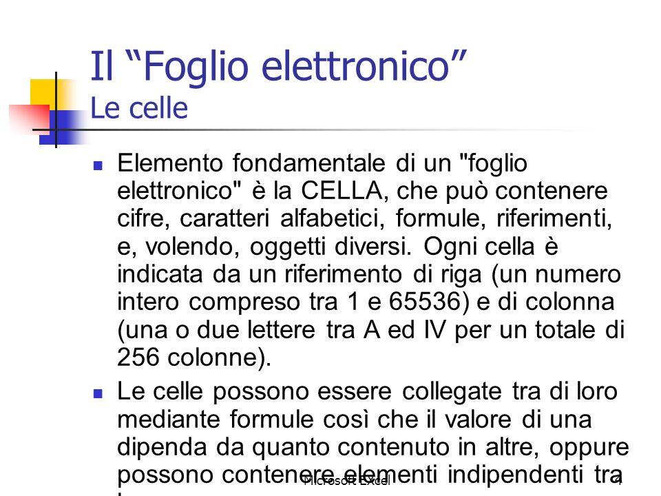 Il Foglio elettronico Le celle
