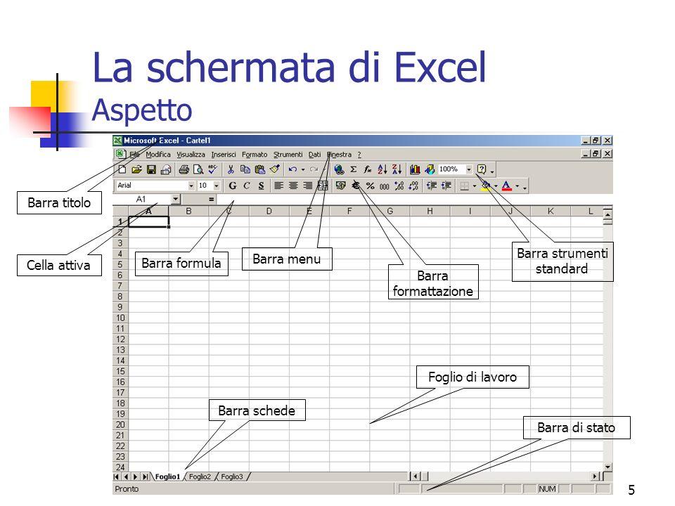 La schermata di Excel Aspetto