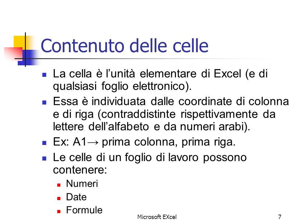 Contenuto delle celle La cella è l'unità elementare di Excel (e di qualsiasi foglio elettronico).