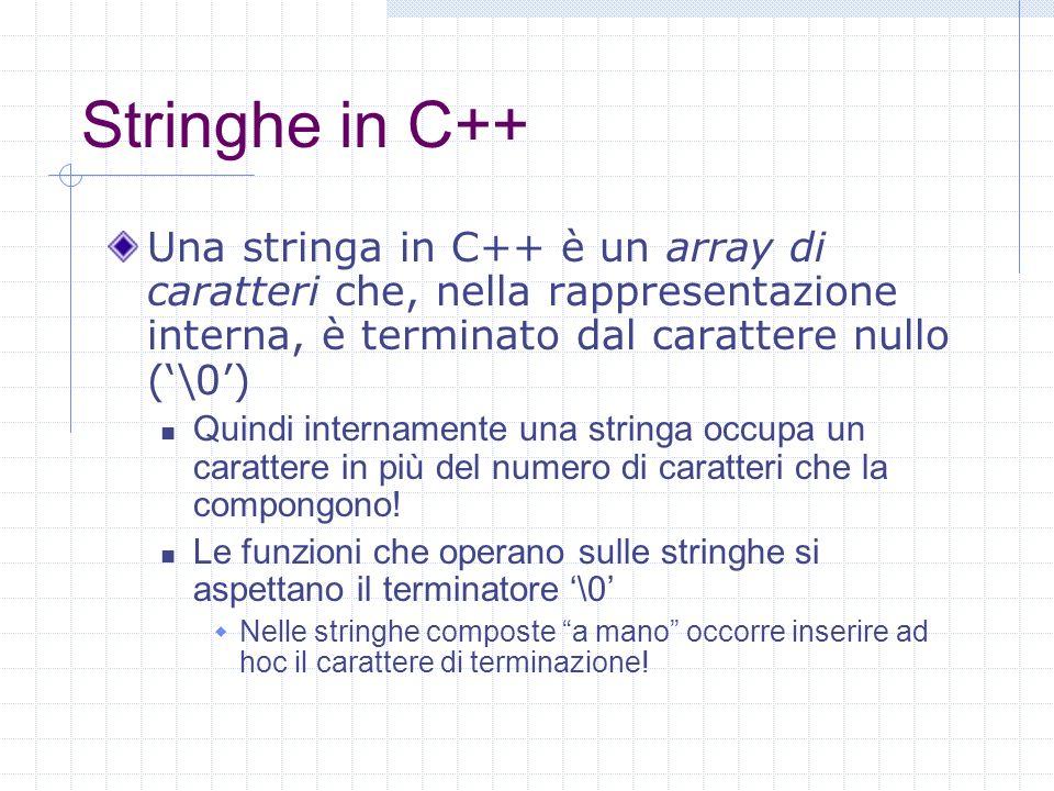 Stringhe in C++ Una stringa in C++ è un array di caratteri che, nella rappresentazione interna, è terminato dal carattere nullo ('\0')