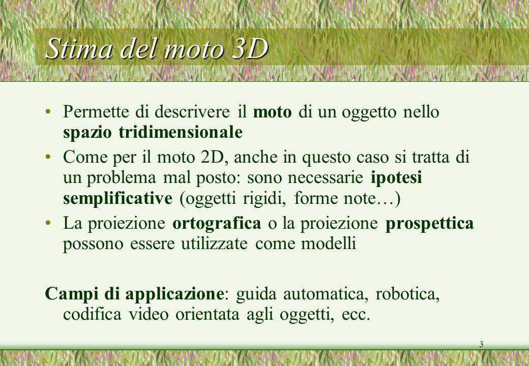 Stima del moto 3D Permette di descrivere il moto di un oggetto nello spazio tridimensionale.