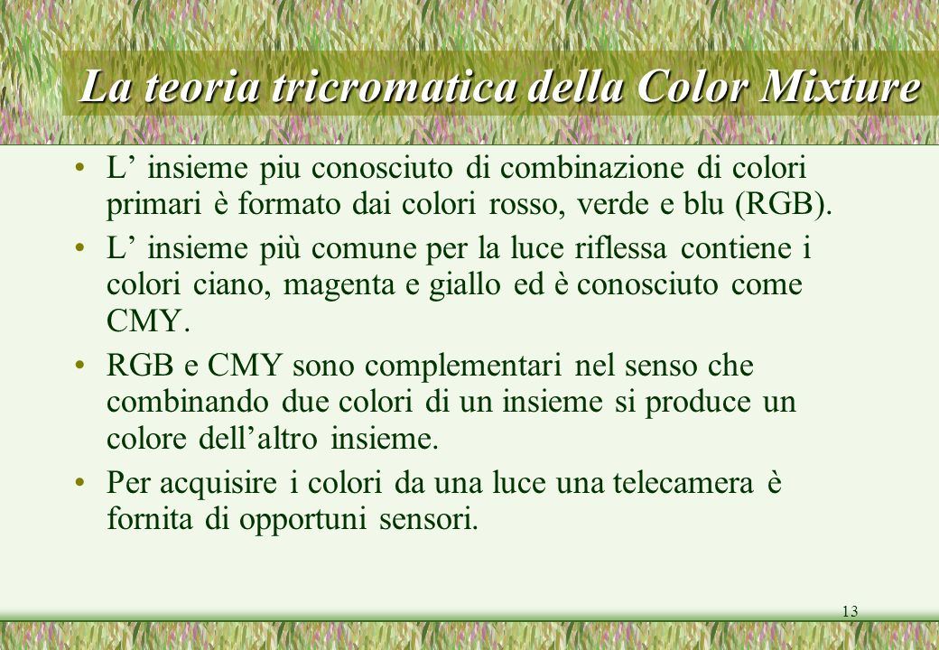 La teoria tricromatica della Color Mixture