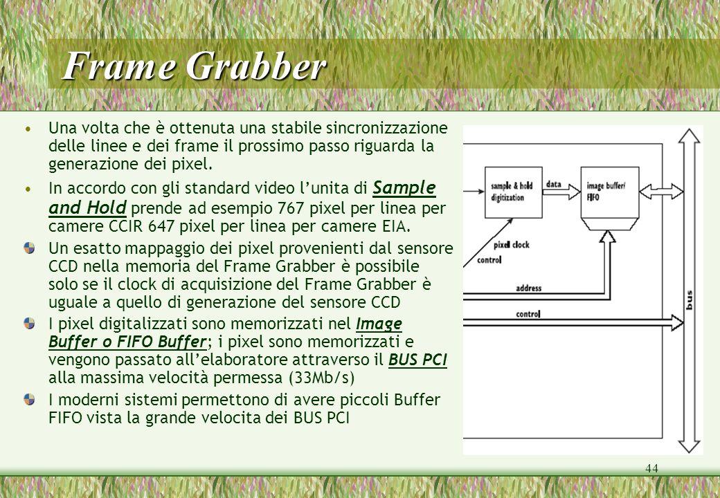 Frame Grabber Una volta che è ottenuta una stabile sincronizzazione delle linee e dei frame il prossimo passo riguarda la generazione dei pixel.