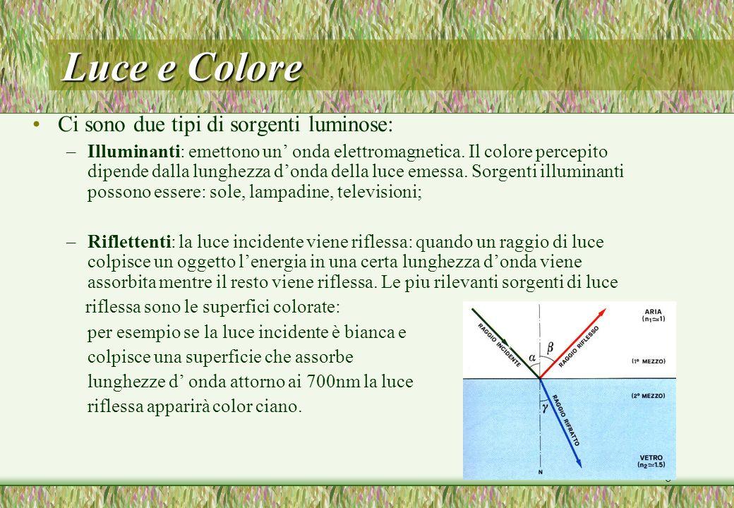 Luce e Colore Ci sono due tipi di sorgenti luminose: