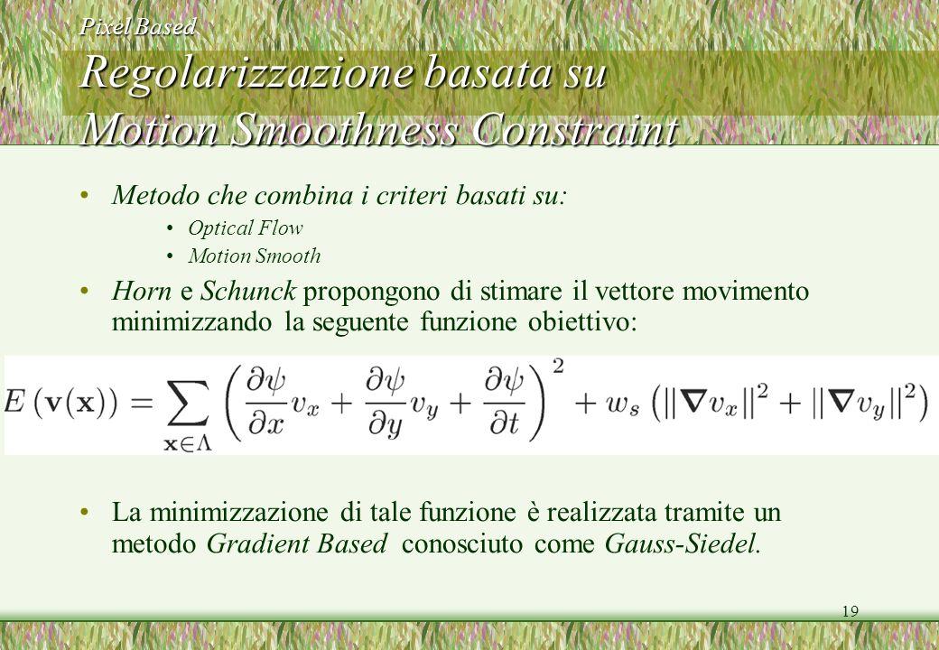 Pixel Based Regolarizzazione basata su Motion Smoothness Constraint