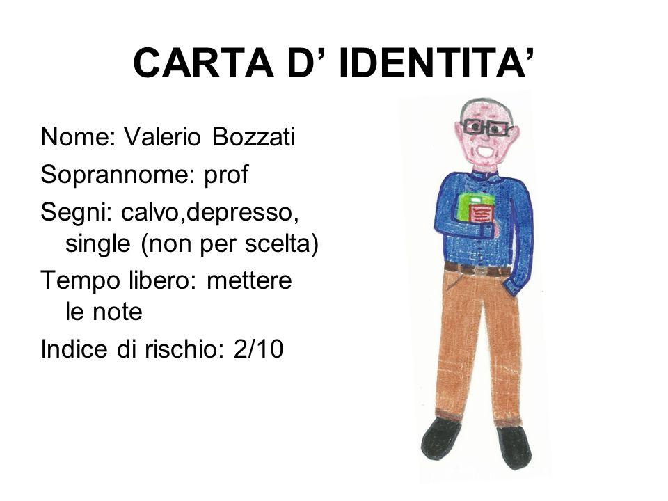 CARTA D' IDENTITA' Nome: Valerio Bozzati Soprannome: prof