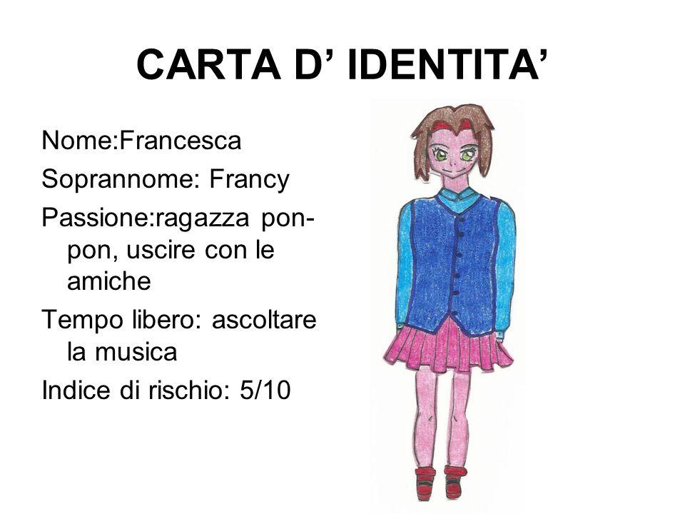 CARTA D' IDENTITA' Nome:Francesca Soprannome: Francy