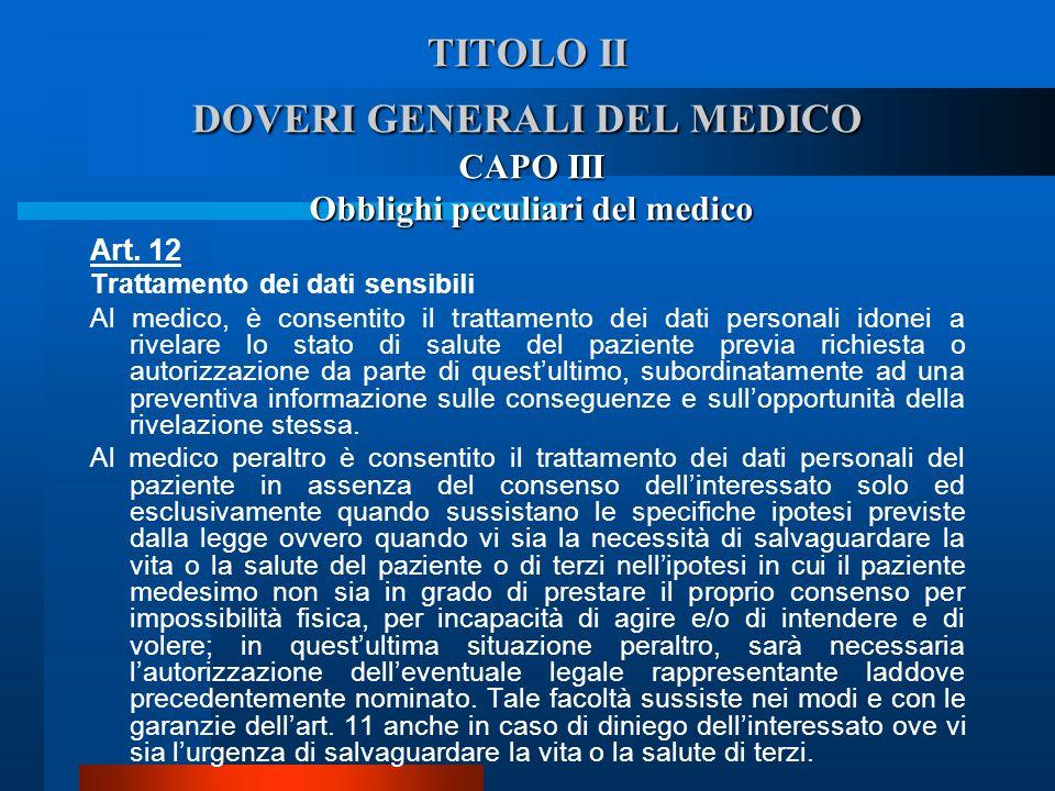 TITOLO II DOVERI GENERALI DEL MEDICO