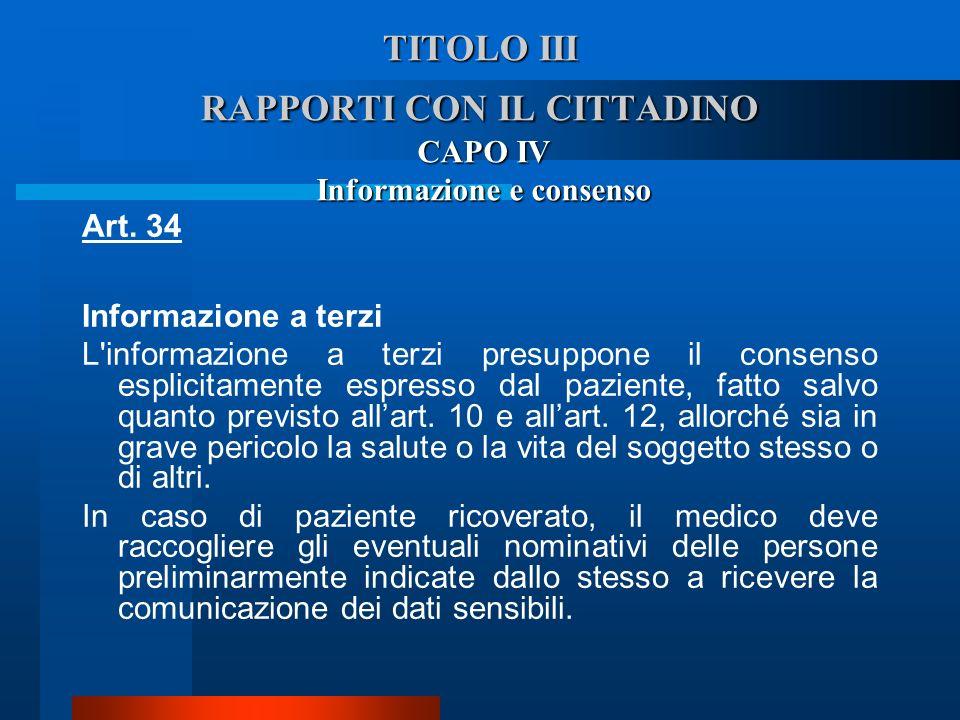 TITOLO III RAPPORTI CON IL CITTADINO
