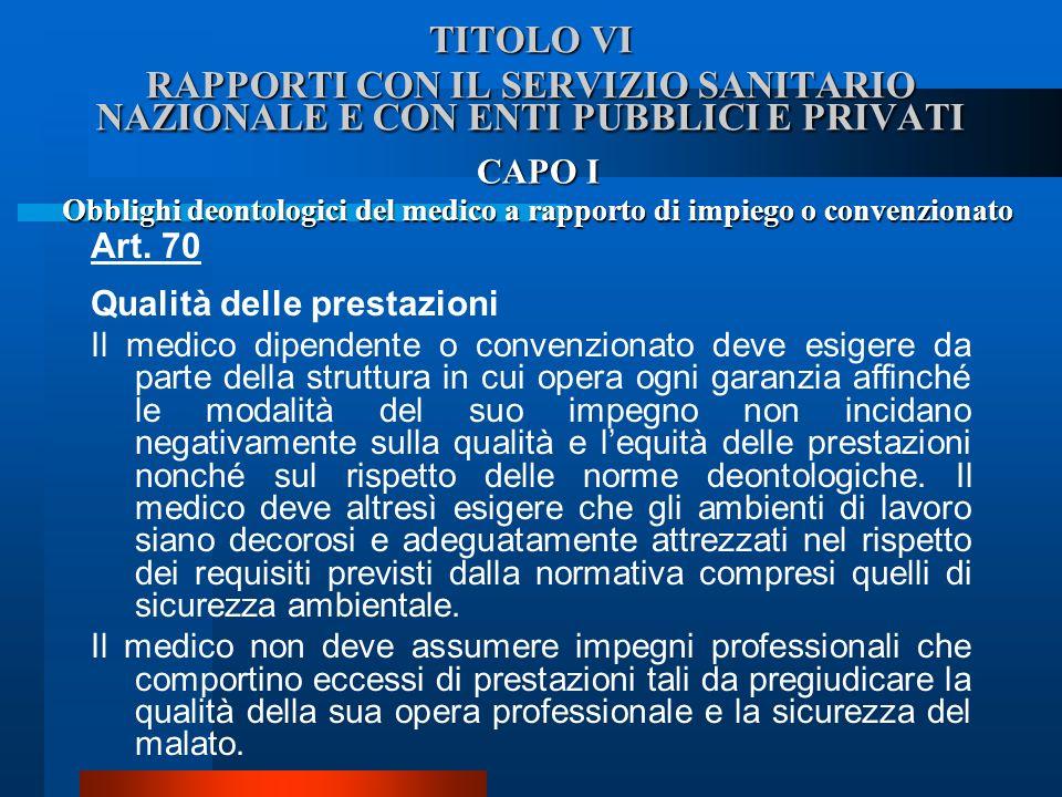 Obblighi deontologici del medico a rapporto di impiego o convenzionato