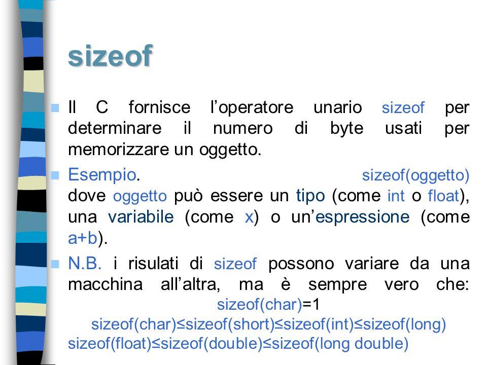 sizeof Il C fornisce l'operatore unario sizeof per determinare il numero di byte usati per memorizzare un oggetto.
