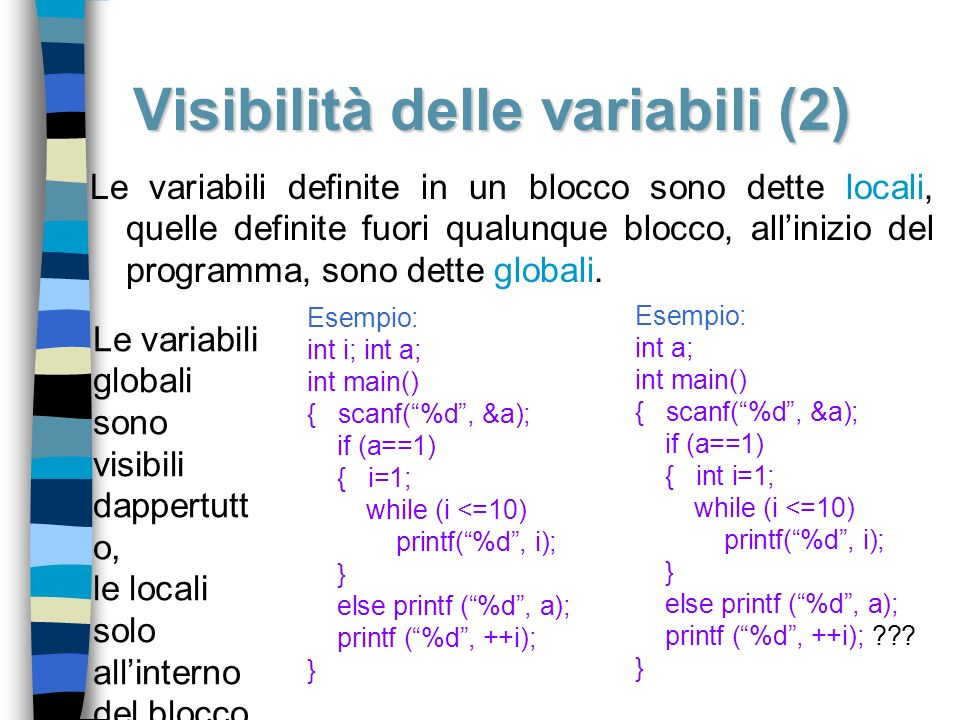 Visibilità delle variabili (2)