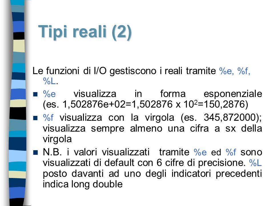 Tipi reali (2) Le funzioni di I/O gestiscono i reali tramite %e, %f, %L.