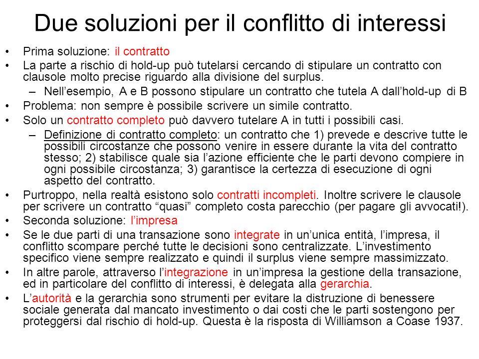 Due soluzioni per il conflitto di interessi