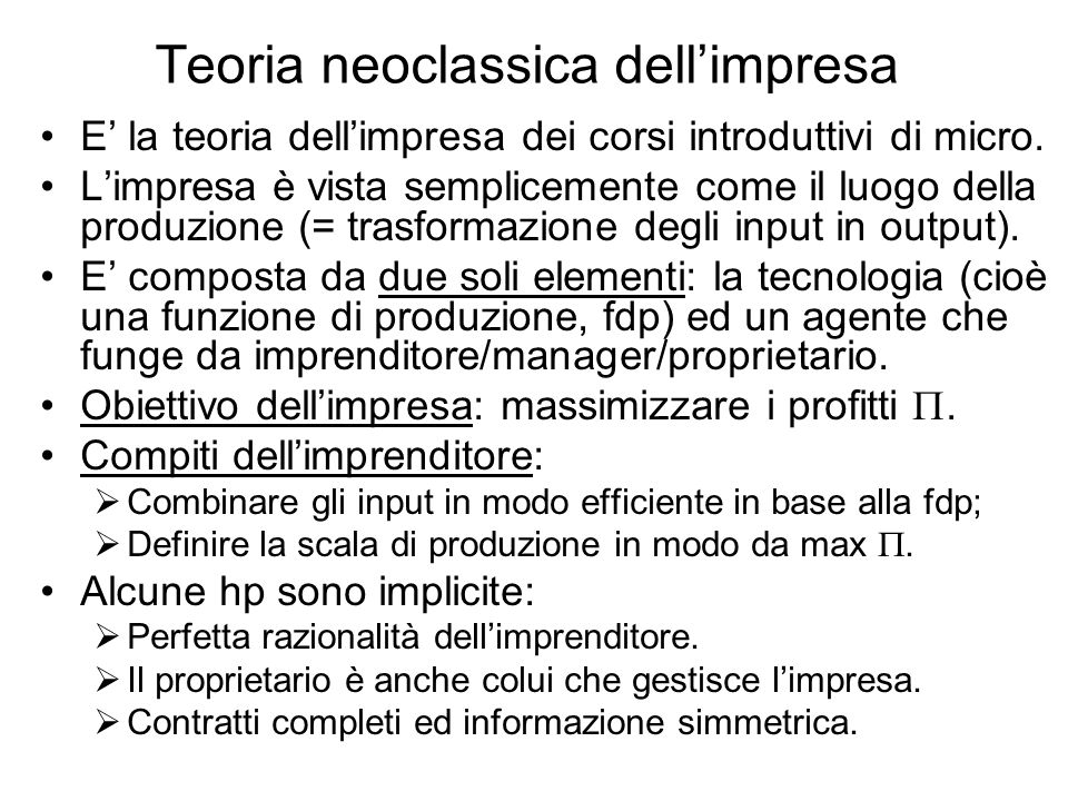 Teoria neoclassica dell'impresa