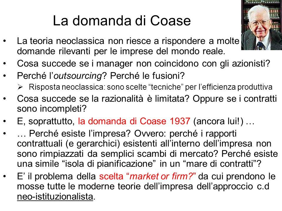 La domanda di Coase La teoria neoclassica non riesce a rispondere a molte domande rilevanti per le imprese del mondo reale.