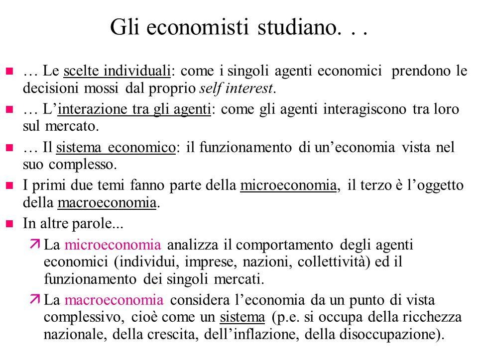 Gli economisti studiano. . .