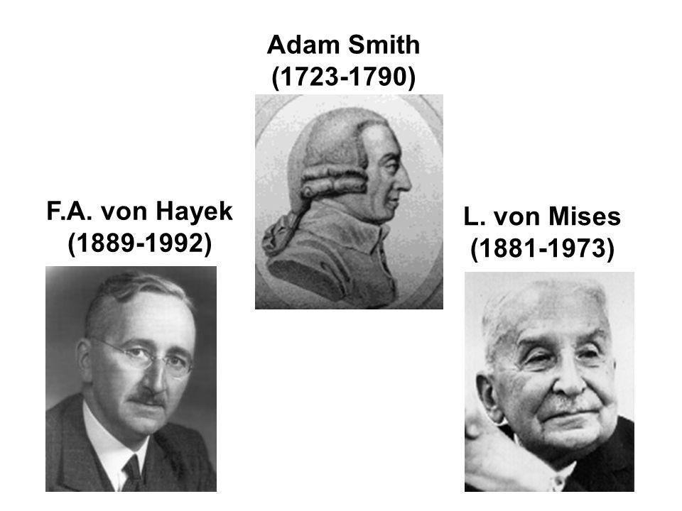 Adam Smith (1723-1790) F.A. von Hayek (1889-1992) L. von Mises (1881-1973)
