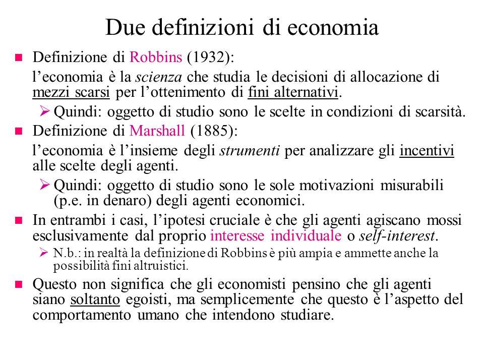 Due definizioni di economia
