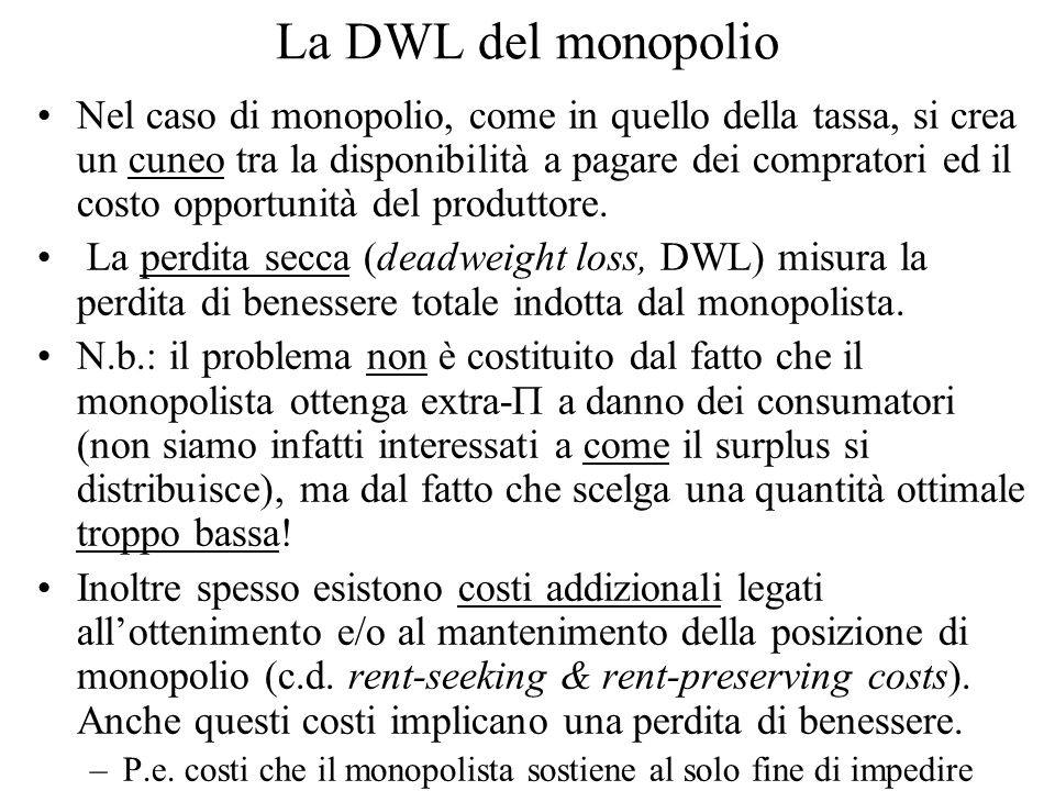 La DWL del monopolio