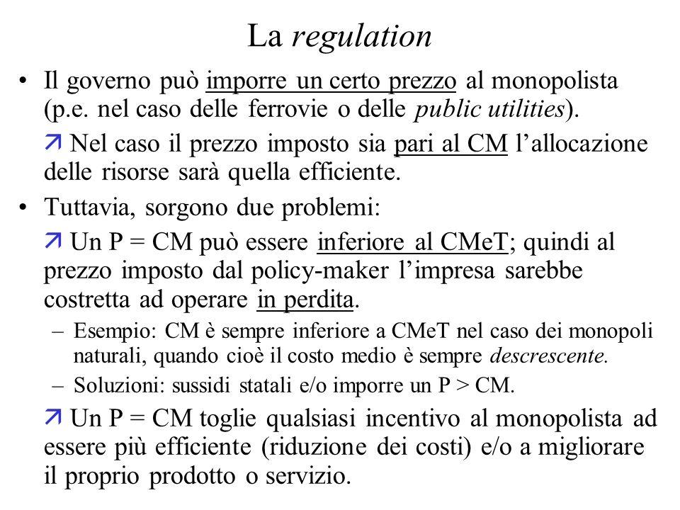 La regulation Il governo può imporre un certo prezzo al monopolista (p.e. nel caso delle ferrovie o delle public utilities).