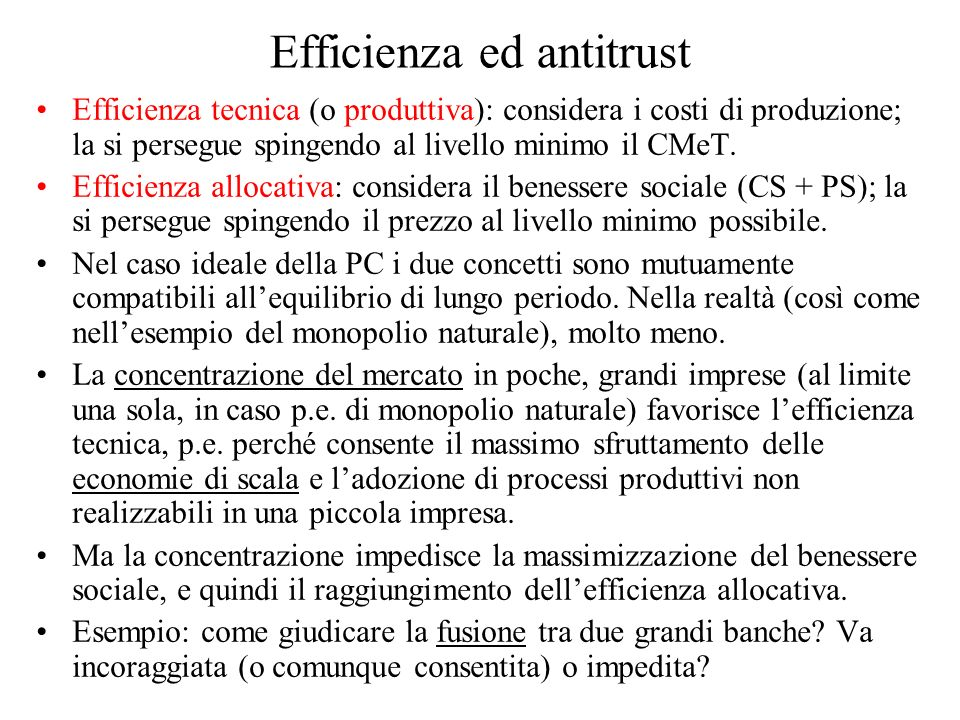 Efficienza ed antitrust