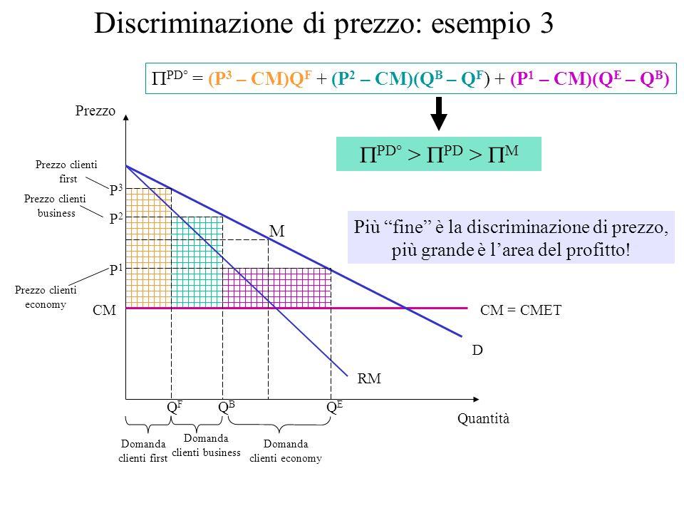 Discriminazione di prezzo: esempio 3